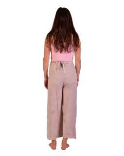 Dlhé zavinovacie nohavice s výšivkou, béžovej