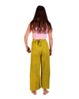 Dlhé zavinovacie nohavice s výšivkou, žlté