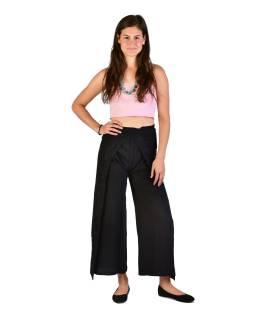 Dlhé zavinovacie nohavice s výšivkou, čierne