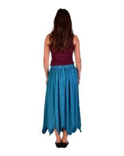 Dlhá sukňa s výšivkou, pružný pás, tyrkysová