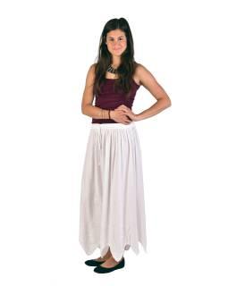Dlhá sukňa s výšivkou, pružný pás, biela