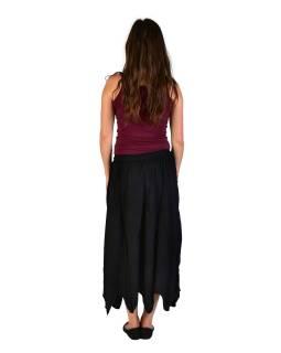 Dlhá sukňa s výšivkou, pružný pás, čierna