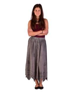 Dlhá sukňa s výšivkou, pružný pás, šedá