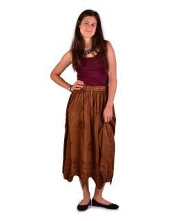 Dlhá sukňa s výšivkou, pružný pás, hnedá