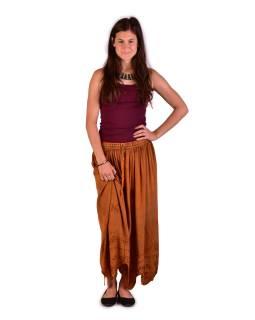 Dlhá sukňa s výšivkou, pružný pás, oranžová