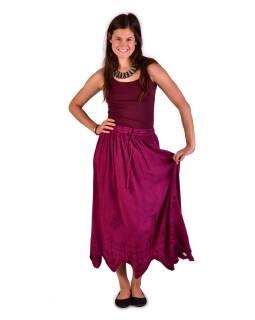 Dlhá sukňa s výšivkou, pružný pás, ružová