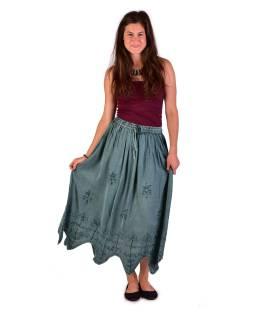 Dlhá sukňa s výšivkou, pružný pás, mentolová