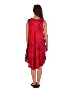 Krátke voľné červené šaty bez rukávov, potlač ornamenty, výšivka