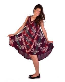 Krátke šaty bez rukávov, potlač, výšivka, mix farby
