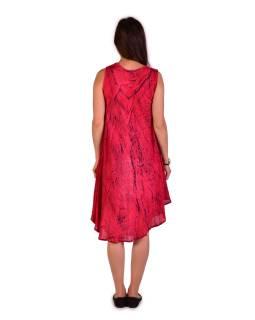 Krátke červené voľné šaty bez rukávov, výšivka, potlač ornamenty