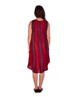 Krátke červené šaty bez rukávov, potlač, výšivka