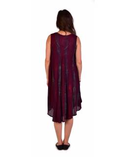 Krátke vínovej šaty bez rukávov, potlač, výšivka