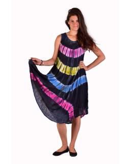 Krátke farebné šaty bez rukávov, sivý podklad, výšivka