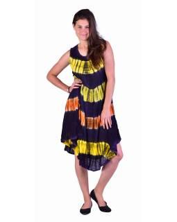 Krátke farebné šaty bez rukávov, fialový podklad, výšivka