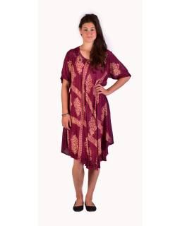 Krátke svetlo fialové šaty s rukávom, výšivka, potlač