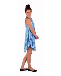Krátke šaty bez rukávov, modro-biele, potlač, batika, s lurexom