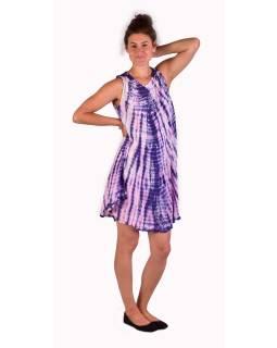 Krátke šaty bez rukávov, fialovo-ružové, potlač, batika, s lurexom