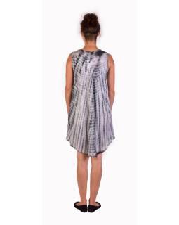 Krátke šaty bez rukávov, šedo-biele, potlač, batika, s lurexom
