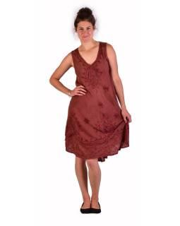 Dlhšie šaty bez rukávov, hnedej, výšivka