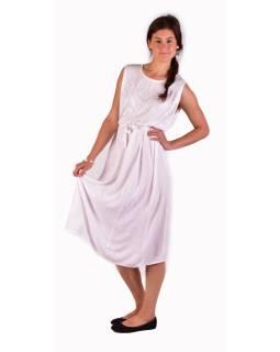 Dlhé biele šaty bez rukávov, výšivka, zaväzovanie na chrbte