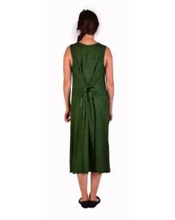 Dlhé zelené šaty bez rukávov, výšivka, zaväzovanie na chrbte