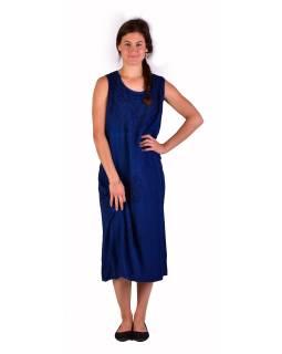 Dlhé tmavo modré šaty bez rukávov, výšivka, zaväzovanie na chrbte