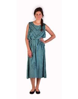 Dlhé mentolovo modré šaty bez rukávov, výšivka, zaväzovanie na chrbte