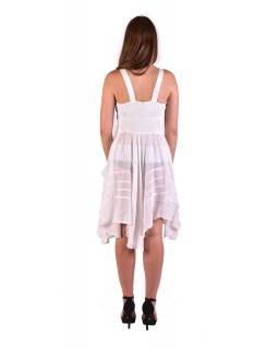 Krátke biele šaty na ramienka, výšivka, drobný potlač kvetín