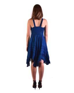 Krátke modré šaty na ramienka, výšivka, drobný potlač kvetín