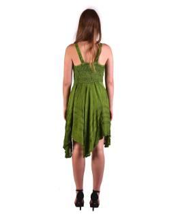 Krátke zelené šaty na ramienka, výšivka, drobný potlač kvetín