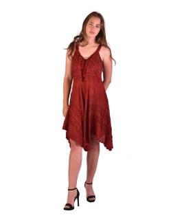 Krátke červené šaty na ramienka, výšivka, drobný potlač kvetín
