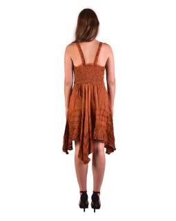 Krátke oranžové šaty na ramienka, výšivka, drobný potlač kvetín