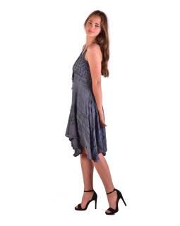 Krátke šedivé šaty na ramienka, výšivka, drobný potlač kvetín