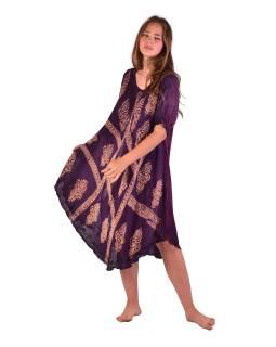 Krátke tmavo fialové šaty s rukávom, výšivka, potlač
