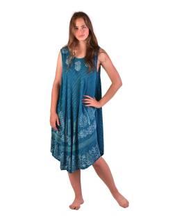 Dlhšie šaty bez rukávov, modrej, potlač, s lurexom