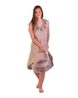 Dlhšie šaty bez rukávov, béžovej, potlač, s lurexom