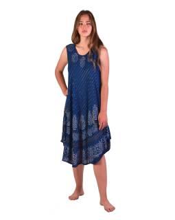 Dlhšie šaty bez rukávov, tmavo modré, potlač, s lurexom