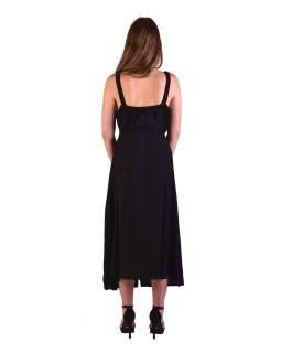 Dlhé čierne šaty na ramienka, výšivka, celoprepínací na gombíky