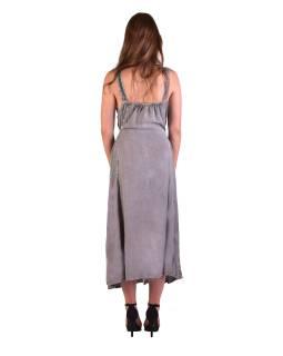 Dlhé šedé šaty na ramienka, výšivka, celoprepínací na gombíky
