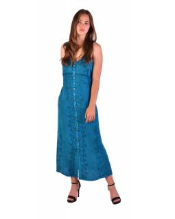 Dlhé tyrkysové šaty na ramienka, výšivka, celoprepínací na gombíky