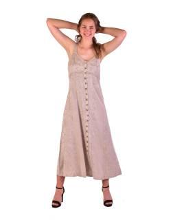 Dlhé béžové šaty na ramienka, výšivka, celoprepínací na gombíky