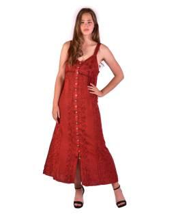 Dlhé červené šaty na ramienka, výšivka, celoprepínací na gombíky