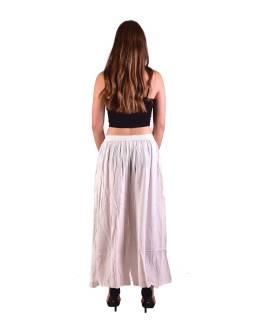 Dlhé thajskej nohavice, biele, pružný pás, výšivka