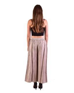 Dlhé thajskej nohavice, béžovej, pružný pás, výšivka