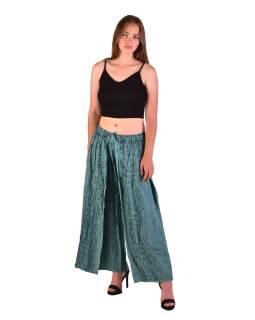Dlhé thajskej nohavice, mentolové, pružný pás, výšivka