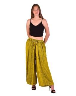 Dlhé thajskej nohavice, žlté, pružný pás, výšivka