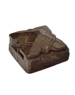 Krabička na tikov, antik, teakové drevo, ručne vyrezaná, 11x12x6cm