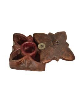 Krabička na tikov, antik, teakové drevo, ručne vyrezaná, 10x10x7cm