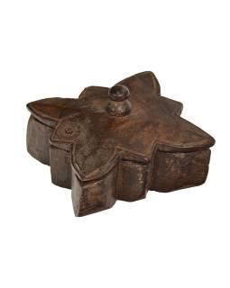 Krabička na tikov, antik, teakové drevo, ručne vyrezaná, 11x12x5cm