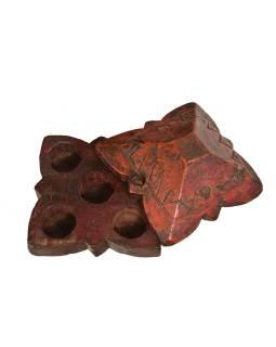 Krabička na tikov, antik, teakové drevo, ručne vyrezaná, 14x13x8cm